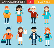 Business Male and Female Characters with Stock Images