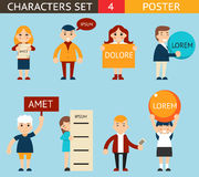 Business Male and Female Characters with Billboard. Business Male and Female Characters Billboard Advertising Poster Sign Expressions Icons Set Flat Design Stock Photography