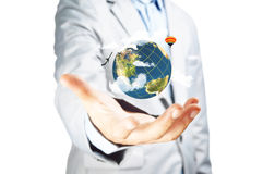Business Male Hand hold earth globe Stock Photo
