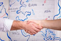 Business male partnership handshake concept.Photo two mans handshaking process.Successful deal after great meeting royalty free stock photo