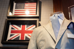 Business male suit. On shop mannequins high fashion retail display Royalty Free Stock Images