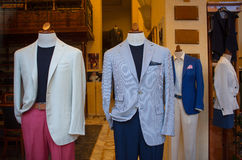 b8a92a488c8b Business male suits. On shop mannequins high fashion retail display royalty  free stock photography