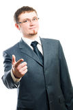 Business man. Happy Business man in motion (isolated Royalty Free Stock Photo