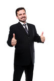 Business man. With thumbs up isolated over white stock photos