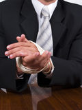 Business man. Businessman yied hands sitting at the desk stock images