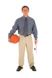Business man #17. Man in formal wear holding basket ball and whistle Royalty Free Stock Images