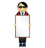 Business man. Holding advertising sandwich board with copy space for own text Stock Image