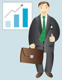 Business man. The successful businessman with diplomat and indicator showing growth Royalty Free Stock Images