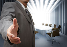 Business man. And meeting table background Stock Images