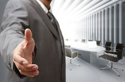 Business man. And meeting table background Stock Photography