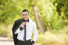 Business man. Smyling in park Stock Image