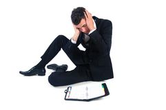 Business man. Stressed with agenda royalty free stock image