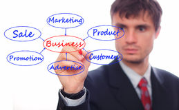 Business man. Showing business Model Royalty Free Stock Photos