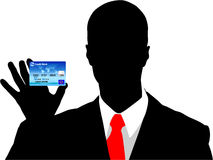 Business man. Holding a blue credit card Stock Image
