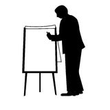 Business man. Silhouette of a young business man writing on a paperboard. You can add your text on the empty white sheet Stock Image