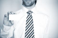 Business man. With tie and visit card Royalty Free Stock Image