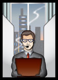Business man. Illustration of young business man working vector illustration