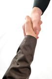 Business man. Young business man isolated on white hand shake Stock Photos