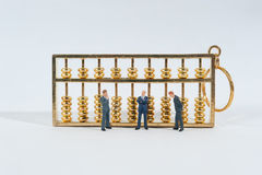 Business man and abacus. Business man and euro money  on white background selective focus Stock Photo