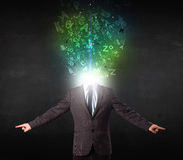 Business man with abstract glowing letters on head Stock Photography