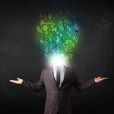 Business man with abstract glowing letters on head Stock Images