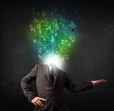 Business man with abstract glowing letters on head Royalty Free Stock Photos
