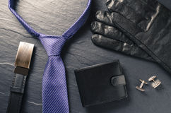 Business man accessories. Over dark background Stock Photo