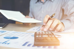 Business man or accountant working Financial investment on calcu Stock Image