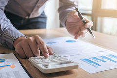 Business man or accountant working Financial investment on calcu Royalty Free Stock Photo