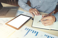 Business man or accountant working Financial investment, writing Stock Photos