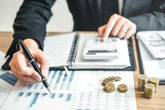Business man Accounting Calculating Cost Economic budget investm stock photography