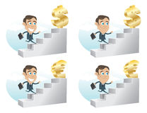 Business Man Achivement. Business man climbing up the stairs towards Dollar and Euro Stock Photography