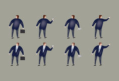 Business man in action. Illustrations of a business man wearing suit in various positions Royalty Free Stock Photography