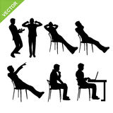 Business man in action silhouettes vector Royalty Free Stock Photos