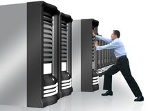 Business man adding server to network Stock Photography