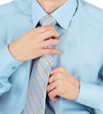 Business man adjust beautiful new tie Royalty Free Stock Photos