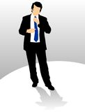 Business man adjusting tie. Well dressed business man adjusting his neck tie Royalty Free Illustration