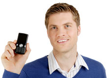 Business man advertising a mobile phone Stock Photos
