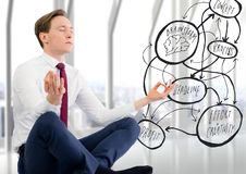 Business man against blurry window with flare and concept doodle. Digital composite of Business man against blurry window with flare and concept doodle Stock Images