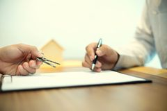 Business man agreement to sign for contract Stock Images