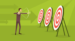 Business Man Aim Archer To Target Get Goal Concept Arrow Background Stock Photo