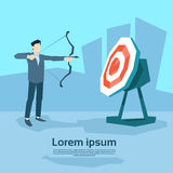 Business Man Aim Archer To Target Get Goal Concept Royalty Free Stock Image