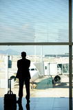 Business man at the airport. Waiting for his airliner stock photos