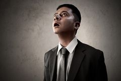 Business man amaze looking up Royalty Free Stock Photography
