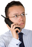 Business man on an analogue phone Stock Images