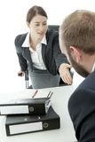 Business Man And Woman Ask To Sit Down Stock Photo
