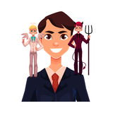 Business man with angel and devils, decision making concept Stock Photo