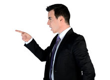 Business man angry pointing Stock Photo
