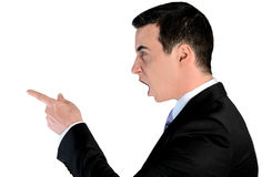 Business man angry pointing Royalty Free Stock Photo