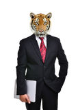 Business man with animal head isolated Royalty Free Stock Photo